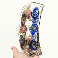 Hand Painted Roses Curved Glass Vase Blue Maroon Gold £15.00