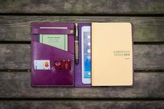 Leather Hobonichi Cousin A5 Planner Cover - Purple - GalenLeather - 1