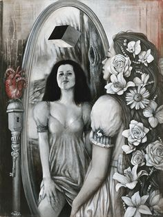 Sophie Wilkins | OIL | Alice in Wonderland | Reflection of Alice and Red Riding Hood