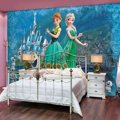 Giant size wallpaper murals for girl's bedroom. Disney green style wall…