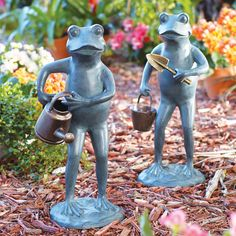 Your yard will be the envy of all your friends when you invite these two adorable frogs to help out. The two frog garden statues have plenty of work to do in the garden: one's going to dig and plant, and the other's going to water. Each one looks up to the task and determined to tend to any weeds or dying flowers. Place them near each other so they can work together or on opposite sides of your garden. Each garden sculpture has a hand-painted verdigris and bronze finish with highlights.
