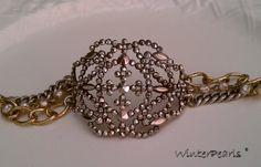 Vintage Bride Cuff Steel Cut Bracelet Assemblage by WinterPearls, $65.00