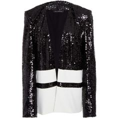 Sally LaPointe     Vertical Sequin  Embroidered Blazer (€2.330) ❤ liked on Polyvore featuring outerwear, jackets, blazers, blazer, sally lapointe, black, striped blazer, sequin blazer jacket, sequin jacket and open front blazer