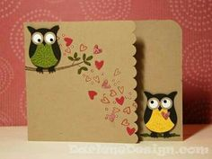 Owl card - stampin' up owl punch Paper Cards, Diy Cards, Craft Cards, Owl Punch Cards, Karten Diy, Love Cards, Valentine Day Cards, Creative Cards, Anniversary Cards