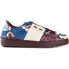 Valentino Garavani Open Floral Print Sneakers ($672) ❤ liked on Polyvore featuring shoes, sneakers, burgundy sneakers, floral flat shoes, blue sneakers, flat shoes and flat sneakers