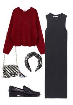 Vestido negro estilo preppy