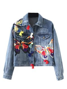 Blue Light Wash Butterfly Patches Long Sleeve Denim Jacket