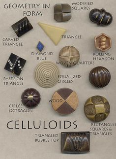 Geometry in Celluloid Buttons by YaddaYaYa, via Flickr