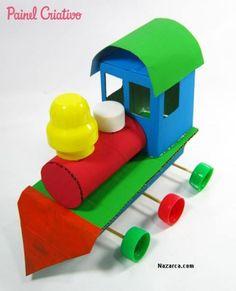 como fazer trenzinho reciclado criancas nazarca 413x510 KÜÇÜK KUTU VE KAPAKLARDAN OYUNCAK KARTON TREN YAPILIŞI