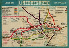 Vintage London Subway map Art Print by Baltzgar. All prints are professionally printed, packaged, and shipped within 3 - 4 business days. London Underground Tube Map, London Tube Map, London Map, Old London, Underground Cities, Vintage Maps, Vintage Travel Posters, Antique Maps, Subway Map
