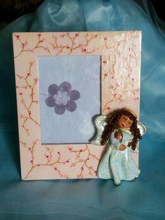 Porta foto dipinta a mano con angioletto in ceramica a freddo