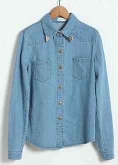 Blue Lapel Long Sleeve Single Breasted Pockets Denim Shirt