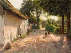 monsted, peder mork - Outside the Cottage Seascape Paintings, Landscape Paintings, Painting Art, Amsterdam Art, Alien Planet, Cottage Art, Autumn Scenery, Modern Landscaping, Painting Techniques