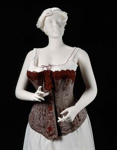 Corset, 1885, Made of silk and lace