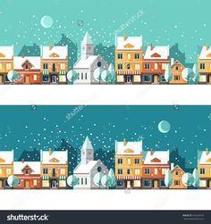 Winter town. Urban winter landscape. Cityscape. Vector illustration, flat style.