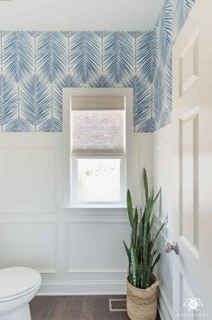 Check out all the decor and design details for this small, modern coastal powder room transformation, along with the befores and afters! to wallpaper bathroom Coastal Powder Room -- A Modern, Classic Design Coastal Powder Room, Powder Room Decor, Powder Room Design, Modern Powder Rooms, Modern Room, Modern Coastal, Coastal Decor, Coastal Farmhouse, Coastal Living