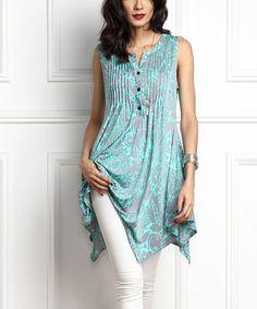 Another great find on #zulily! Blue Floral Notch Neck Sleeveless Handkerchief Tunic #zulilyfinds