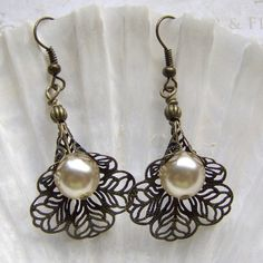 filligree lace jewelry | Pearl Earrings with Lace Filigree Flower - Victorian Style - Wedding