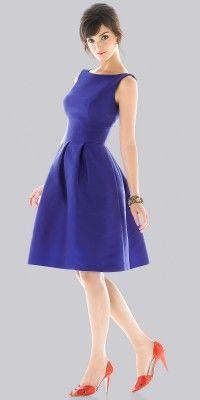 Knee Length Taffeta A-line Royal Blue Short Bridesmaid Dresses (PMI1974)