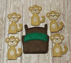 Five Little Monkeys Jumping On The Bed finger puppet set, story game, embroidered, montessori, home school, homeschool, math game, counting - pinned by pin4etsy.com