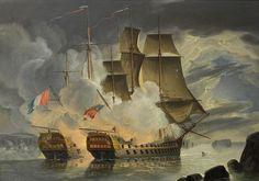Dos 74s slugging a cabo fuera de Brest 21 de de abril de 1798 Los franceses Hércules (l) y los británicos Marte . El Hércules fue capturado.