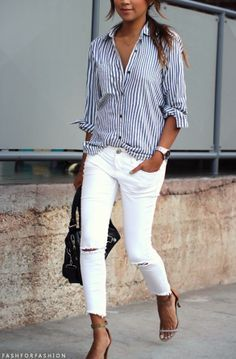 Wear white jeans with a blue and white striped shirt- wins every time!