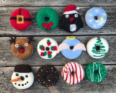 Not that you should be Christmas shopping on this gorgeous day (it is gorgeous in Maine!), but just throwing out there - the Christmas donuts are in full production swing and JUST GOT LISTED in my Etsy shop. Christmas Donuts, Christmas Cake Pops, Christmas Treats, Christmas Baking, Christmas Ornaments, Fancy Donuts, Cute Donuts, Mini Donuts, Dulces Halloween