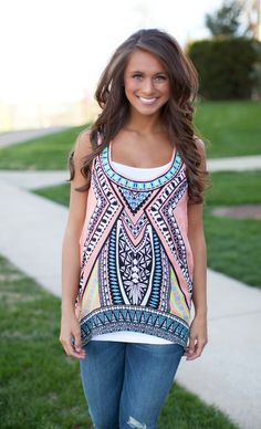 Looking Back Hi Low Peach Tank - The Pink Lily Boutique