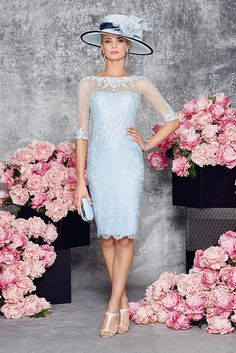 New Ronald Joyce 991077 from their new Spring Summer 2016 collection. This is a stylish Mother of the Bride and occasion dress in Aqua complete with jacket.