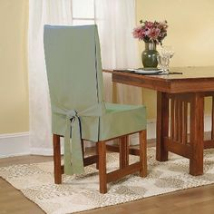 Cotton Duck Short Dining Room Chair Slipcover Sage (Green) - Sure Fit
