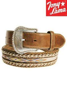 Tony Lama Badlands Horse-Hair with Ribbon Inlay Belt