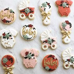 Are these not the dreamiest custom sugar cookies you've ever seen? Getting SOOO excited for my shower… : Are these not the dreamiest custom sugar cookies you've ever seen? Getting SOOO excited for my shower… Otoño Baby Shower, Baby Shower Vintage, Floral Baby Shower, Baby Shower Gender Reveal, Girl Shower, Baby Shower Parties, Baby Shower Themes, Baby Shower Cake For Girls, Baby Showers
