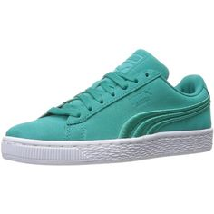PUMA Adult Suede Classic Shoe ❤ liked on Polyvore featuring shoes, wide fit shoes, suede leather shoes, wide width shoes, wide shoes and suede shoes