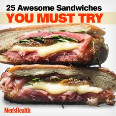 From the molten yolk and bacon crunch of a hand-held breakfast, to the gooey charm of grilled cheese for lunch, nothing matches the simple pleasures of well-made sandwiches. They're quick to assemble, infinitely adaptable, easy to eat, and immediately satisfying—the very definition of good food. #sandwich #food #nomnom http://www.menshealth.com/nutrition/gourmet-sandwiches?cid=soc_pinterest_content-nutrition_aug14_sandwichesyoumusttry
