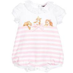 Monnalisa Bebé - Baby Girls Pink & White Disney Bunny Shortie | Childrensalon