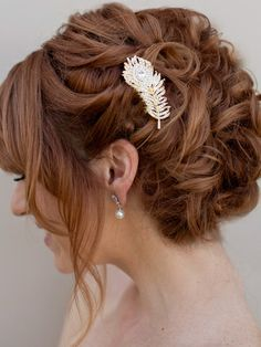 Peacock Feather Hair Comb ~ Peacock in Gold - Hair Comes the Bride Bridal Hair Accessories & Headpieces, Wedding Jewelry, Hair & Makeup