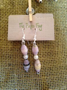 Lilac upcycled paper bead earrings by MyPaperFrog on Etsy