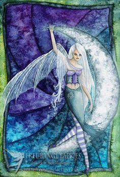 Moon Sprite mini Print/Faerie Print/Fairy Art/Gothic/Magical/Fantasy/Faerie art/Moonlit/Moonlight/Crescent Moon/Enchanted/Faerie Realm by Freerangefaeries on Etsy