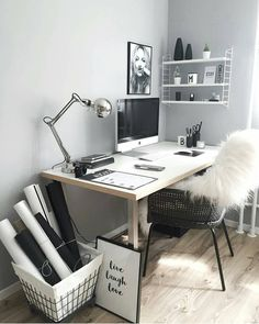 31 White Home Office Ideas To Make Your Life Easier; home office idea;Home Office Organization Tips; chic home office. Home Office Design, Home Office Decor, Home Decor, Desk Office, Office Ideas, Desk Ideas, Workspace Desk, Office Nook, Office Inspo