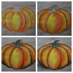Step by step on how to draw and shade pumpkins with oil pastel