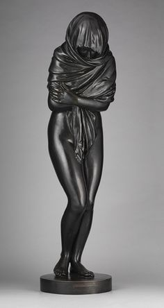 La Frileuse / Winter, 18th century (1787)  Jean-Antoine Houdon (French, 1741–1828) Bronze - Houdon's portrayal of Winter departs starkly from the usual allegorical representation of the season, typically depicted as a hoary old man. The naturalistic pose of the shivering, bare-bottomed girl, whose only covering is a shawl wrapped around her upper body, generates an empathy not evoked by more traditional versions.