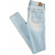 """See this and similar American Eagle Outfitters skinny jeans - Super Stretch denim, Legging-like fit, Low 8.25"""" front rise, Higher 13.5"""" back rise, Skinniest 10...."""