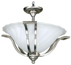 Yosemite Home Decor Sierra Fluorescent 3-Light Semi-Flush Mount Satin Nickel - FL9921-3SN. Sierra Fluorescent Three Light Ceiling Semi-Flush Mount (FL9921-3SN) - 19 x 14 This model from the Sierra collection by Yosemite Home Decor is an elegant piece. Its Satin Nickel frame holds its Frosted Swirl glass, as thoug.. . See More Ceiling Flushmounts at http://www.ourgreatshop.com/Ceiling-Flushmounts-C1009.aspx