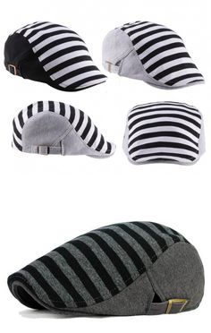 Men and Women Berets Caps New Fashion Stripes Hats Unisex Flat Cap Black and Grey for Choose HT51025 $7