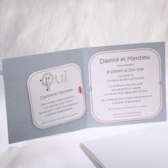 Faire-part Mariage - ref 49521 Collection Faire-part Mariage Duo 2016 www.fairepartselection.fr  Romantique, fleuri, champetre, couple, oui, gris, fuchsia, personnalise