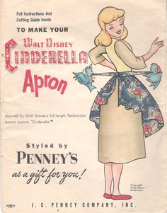 1950s Walt Disney CINDERELLA APRON Pattern J C Penney Hostess Apron Pattern Womens Vintage Sewing Pattern Uncut