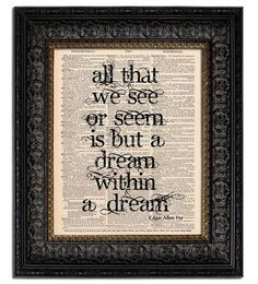 Edgar Allan Poe Quote Print Dream within a Dream by Vintagraphy, $10.00