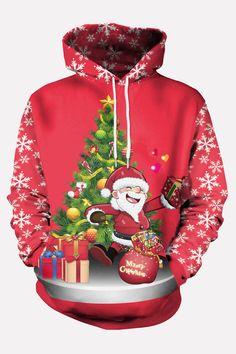 Yusky Mens Plus Size Snowman Xmas Funny Contrast Color Hoodies Sweater