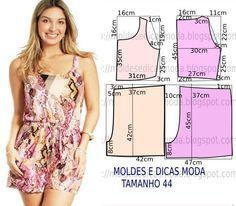 Jumpsuit Pattern, Pants Pattern, Dress Sewing Patterns, Clothing Patterns, Sewing Clothes, Diy Clothes, Como Fazer Short, Costura Fashion, Pajama Pattern
