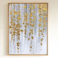 Diy Wall Art, Large Wall Art, Wall Art Decor, Canvas Wall Art, Gold Wall Art, Room Decor, Large Canvas Art, Gold Leaf Art, Painted Leaves